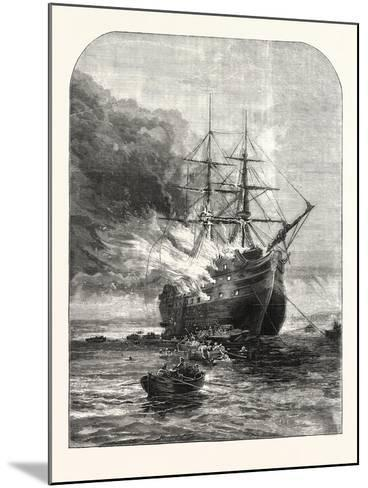 Destruction of the Goliath Training Ship, Off Grays, Essex, by Fire, 1876, Uk--Mounted Giclee Print