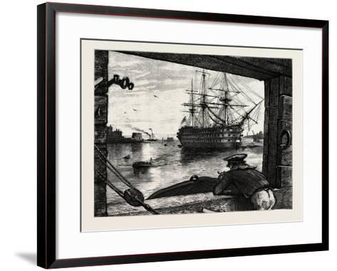 The Victory, Nelson's Ship. Horatio Nelson, 1st Viscount Nelson, British Admiral--Framed Art Print
