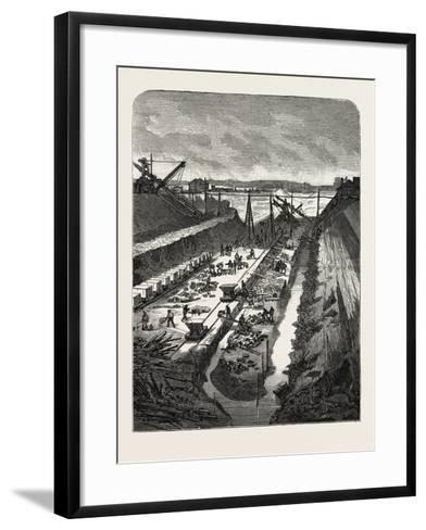 France: Changing the Course of the Seine, View at the Head of the Cut, 1880 1881--Framed Art Print