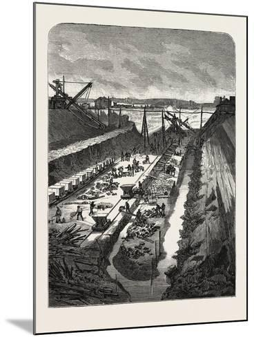 France: Changing the Course of the Seine, View at the Head of the Cut, 1880 1881--Mounted Giclee Print