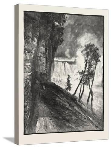 The Horse-Shoe Fall, from under Cliff at Goat Island, Canada, Nineteenth Century--Stretched Canvas Print