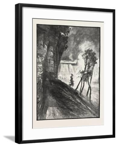 The Horse-Shoe Fall, from under Cliff at Goat Island, Canada, Nineteenth Century--Framed Art Print