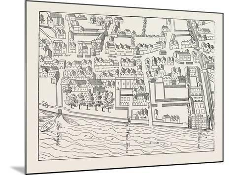 Fleet Street the Temple London from a Plan Published by Ralph Aggas 1563--Mounted Giclee Print