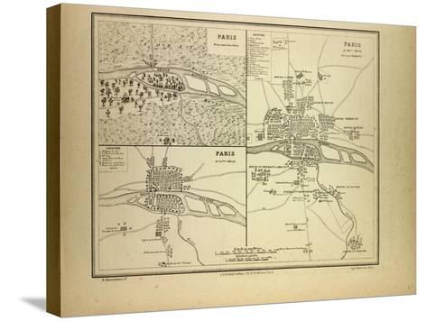 Map of Paris in 60 B.C. in the 4th Century and in the 12th Century France--Stretched Canvas Print