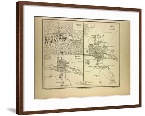Map of Paris in 60 B.C. in the 4th Century and in the 12th Century France--Framed Art Print