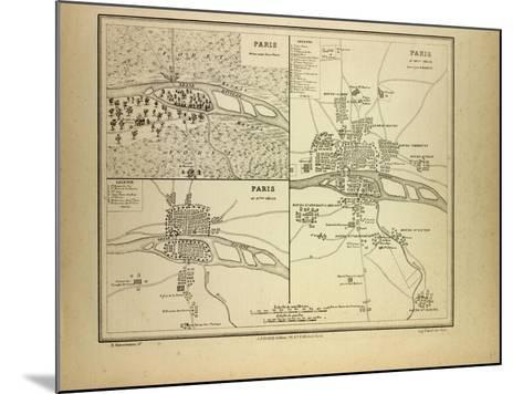 Map of Paris in 60 B.C. in the 4th Century and in the 12th Century France--Mounted Giclee Print
