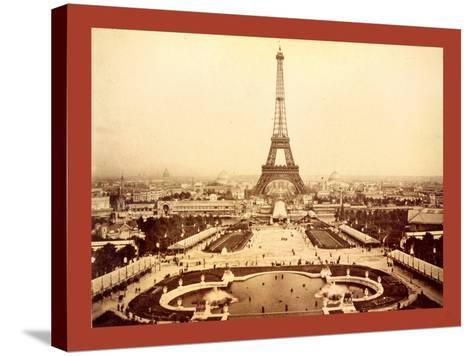 Eiffel Tower and Champ De Mars Seen from Trocadéro Palace, Paris Exposition, 1889--Stretched Canvas Print