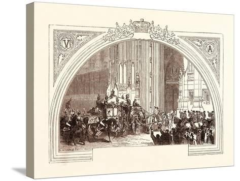 Opening of Parliament, February 3, 1852. the Victoria Tower. London, Uk--Stretched Canvas Print