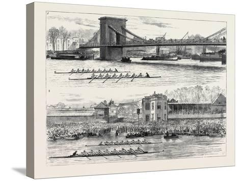 The Inter-University Boat Race: 1. Hammersmith Bridge; 2. the Dead Heat--Stretched Canvas Print