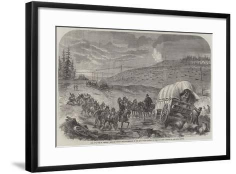 The Civil War in America, Baggage-Waggons and Gun-Carriages of the Army of the Potomac on the Move--Framed Art Print