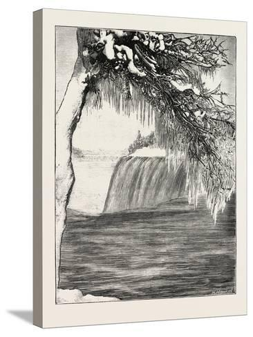The Niagara Falls in Winter Time: American Fall from Luna Island, 1873--Stretched Canvas Print
