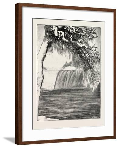 The Niagara Falls in Winter Time: American Fall from Luna Island, 1873--Framed Art Print