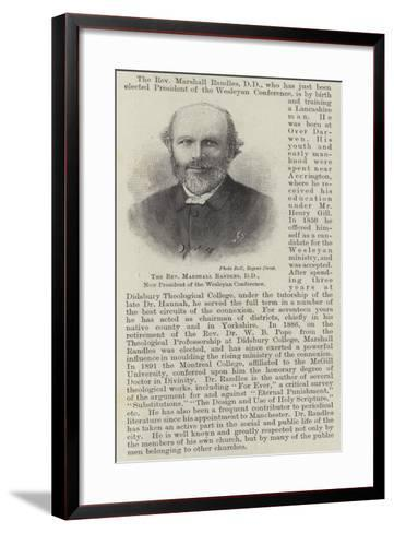 The Reverend Marshall Randles, Dd, New President of the Wesleyan Conference--Framed Art Print
