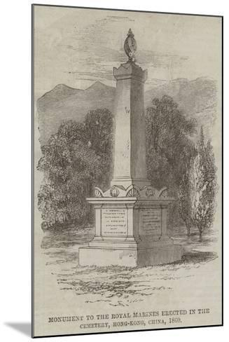 Monument to the Royal Marines Erected in the Cemetery, Hong-Kong, China, 1860--Mounted Giclee Print