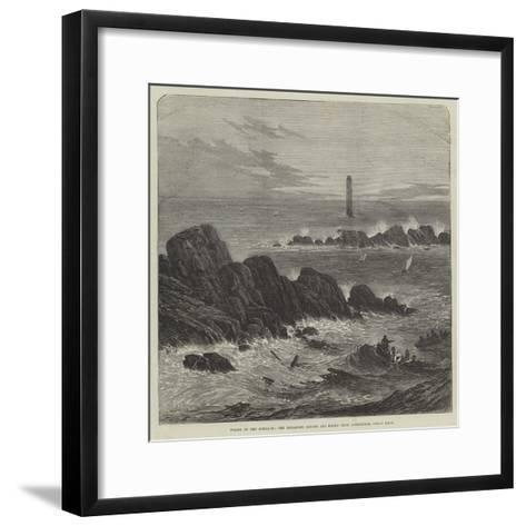 Wreck of the Schiller, the Retarrier Ledges and Bishop Rock Lighthouse, Scilly Isles--Framed Art Print