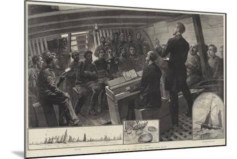 Sunday Service in the North Sea Fishing Fleet, the Thames Church Mission--Mounted Giclee Print