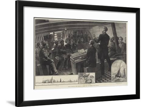 Sunday Service in the North Sea Fishing Fleet, the Thames Church Mission--Framed Art Print