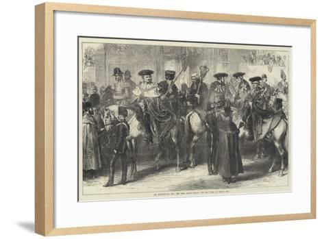 The Thanksgiving Day, the Lord Mayor Waiting for the Queen at Temple Bar--Framed Art Print