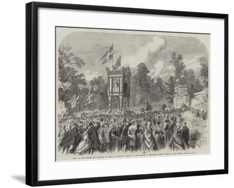 Visit of the Prince and Princess of Wales to Denmark, Arrival at the Castle of Bernstorf--Framed Art Print