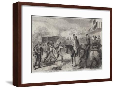 The War in America, Bringing in the Federal Wounded after the Skirmish at Lewinsville Virginia--Framed Art Print