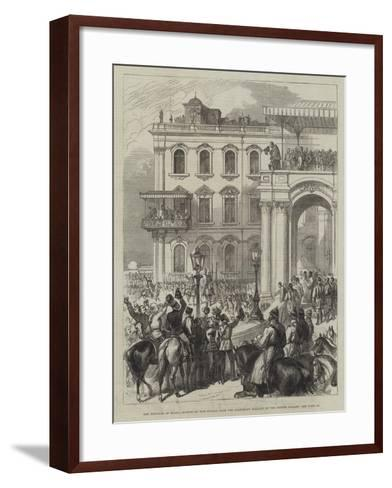 The Emperor of Russia Bowing to the People from the Soltykoff Balcony of the Winter Palace--Framed Art Print