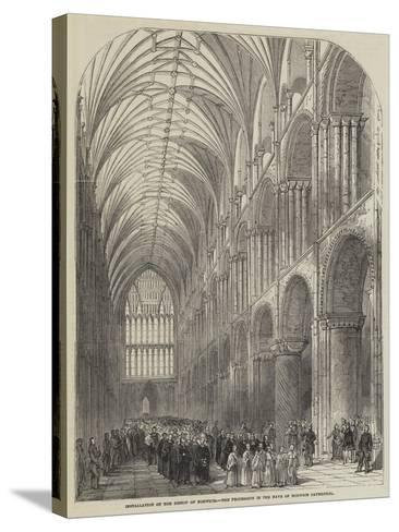 Installation of the Bishop of Norwich, the Procession in the Nave of Norwich Cathedral--Stretched Canvas Print