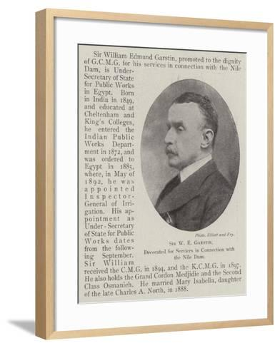 Sir W E Garstin, Decorated for Services in Connection with the Nile Dam--Framed Art Print