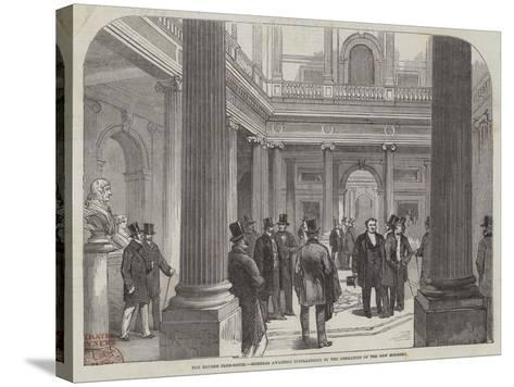 The Reform Club-House, Members Awaiting Intelligence of the Formation of the New Ministry--Stretched Canvas Print
