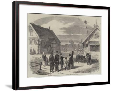 Group of Russian Serfs, and Village of Goumnist, Between Kostroma and Yaroslav--Framed Art Print