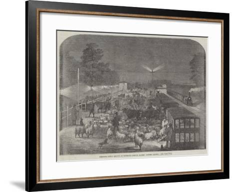 Christmas Cattle Arriving at Tottenham Station, Eastern Counties Railway--Framed Art Print