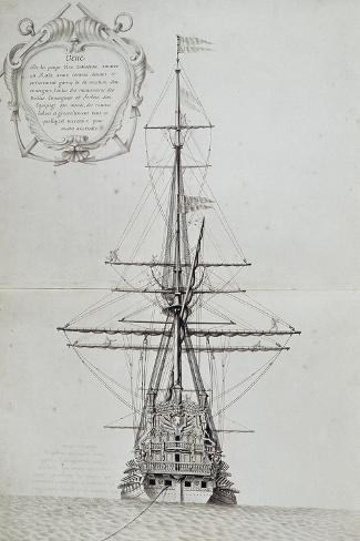 View of Stern of Vessel at Anchor, from Atlas De Colbert, France, 17th Century--Stretched Canvas Print