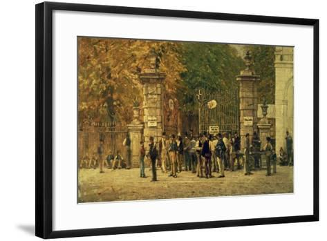 Break Time During Work on Exhibition of 1881, Painted in 1887 by Filippo Carcano (1840-1914)--Framed Art Print