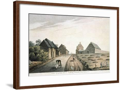 Les Quatre Bras, Looking Towards Waterloo, Published by R. Bowyer, 1815 (Colour Aquatint)--Framed Art Print