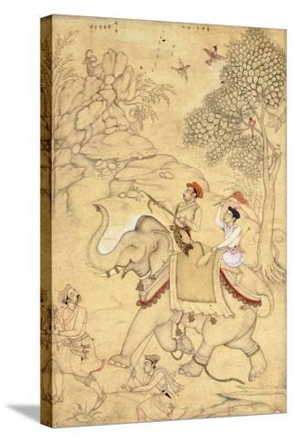 A Prince Hunting, Mounted on an Elephant, C.1600-1650 (Drawing with W/C and Gold Paint)--Stretched Canvas Print