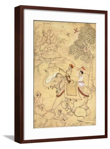 A Prince Hunting, Mounted on an Elephant, C.1600-1650 (Drawing with W/C and Gold Paint)--Framed Art Print