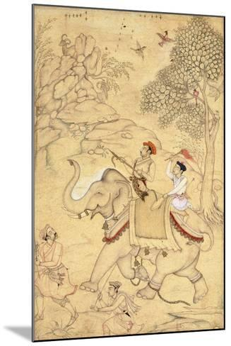 A Prince Hunting, Mounted on an Elephant, C.1600-1650 (Drawing with W/C and Gold Paint)--Mounted Giclee Print