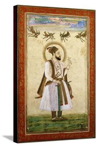 Portrait of Muhammad 'Adil Shah Ii, C.1650 (W/C and Gold Paint on Paper)--Stretched Canvas Print