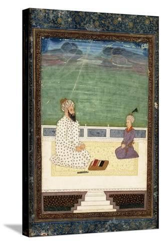 A Mullah and a Pupil, 18th Century (Gouache Heightened with Gold, on Paper)--Stretched Canvas Print