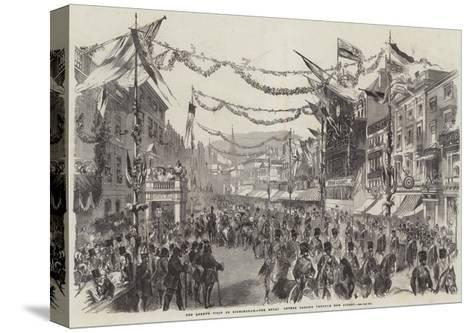The Queen's Visit to Birmingham, the Royal Cortege Passing Through New Street--Stretched Canvas Print