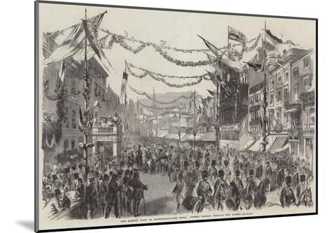 The Queen's Visit to Birmingham, the Royal Cortege Passing Through New Street--Mounted Giclee Print