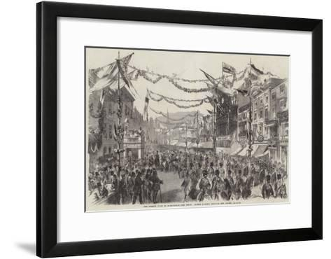 The Queen's Visit to Birmingham, the Royal Cortege Passing Through New Street--Framed Art Print