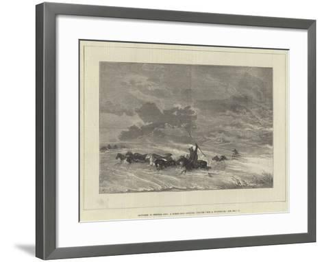 Sketches in Central Asia, a Horse-Herd Seeking Shelter from a Snowstorm--Framed Art Print