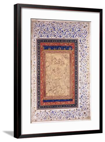 Rustem Killing Arjang Div, C.1630 (Pen and Ink, Heightened with Colour, on Paper)--Framed Art Print