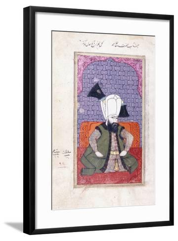 Portrait of Sultan Ahmed III (1673-1736), 18th Century (Gouache with Gold Paint on Paper)--Framed Art Print