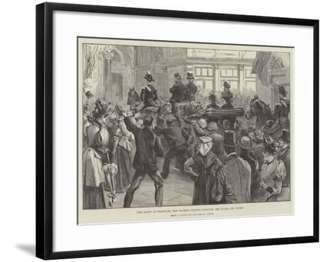 The Queen at Florence, Her Majesty Driving Through the Piazza Del Duomo--Framed Art Print