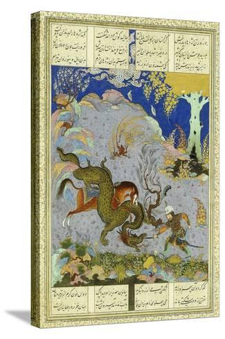 Rustem Slays the Dragon, C.1500-1540S (Gouache and Gold Paint on Buff Paper)--Stretched Canvas Print