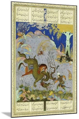 Rustem Slays the Dragon, C.1500-1540S (Gouache and Gold Paint on Buff Paper)--Mounted Giclee Print