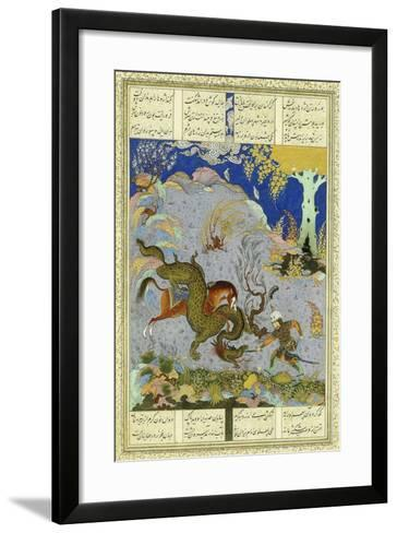 Rustem Slays the Dragon, C.1500-1540S (Gouache and Gold Paint on Buff Paper)--Framed Art Print