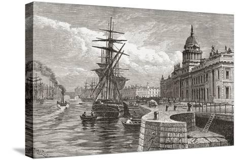 The Custom House, Dublin, Ireland in the 19th Century. from Cities of the World, Published C.1893--Stretched Canvas Print