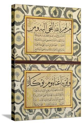 An Album of Calligraphy (Muraqqa), Ottoman, 19th Century (Manuscript on Card)--Stretched Canvas Print